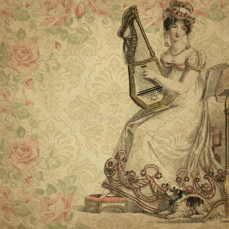 Regentschafts-Ära - Jane Austen Inspired - Weinlese-schäbige schicke Rosen - Digital-Papierhintergrund - Rosen - Stolz u. Vorurte vektor abbildung