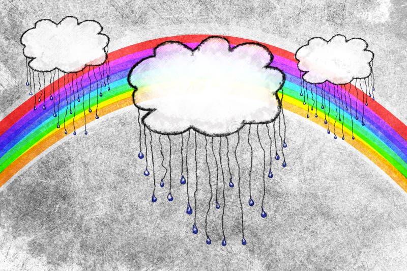 Regenwolken und -regenbogen lizenzfreie abbildung