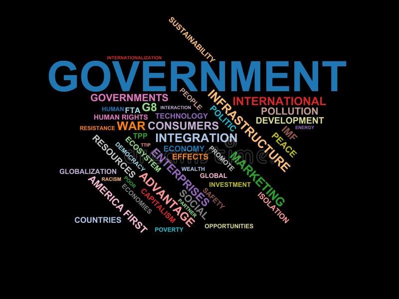 REGERING - ordmolnwordcloud - uttryck från den globalisering-, ekonomi- och politikmiljön stock illustrationer