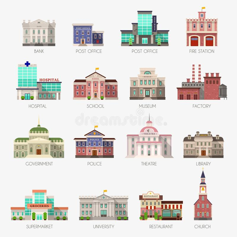 Regeringhus Bank för kommunalt kontor, lägenhet för stad för arkiv för polisstation för universitet för byggnadssjukhusskola yttr stock illustrationer