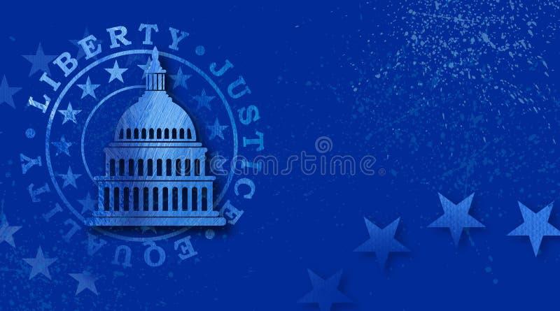 RegeringKapitoliumbyggnad med frihet, rättvisa och grafisk bakgrund för jämställdhetskyddsremsa stock illustrationer