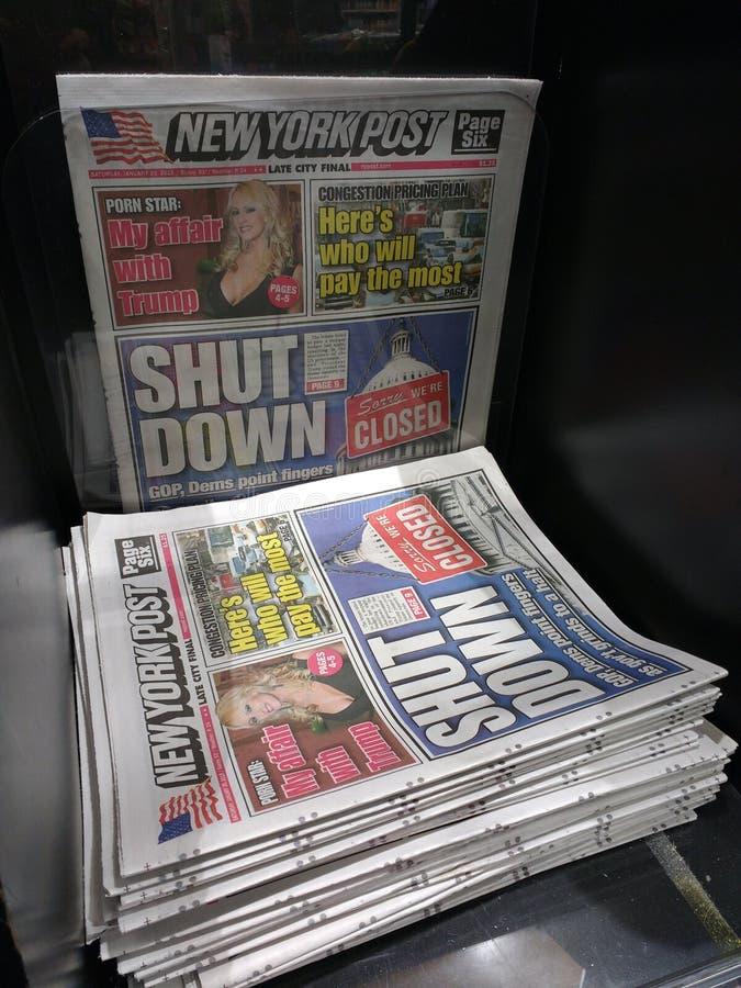Regerings- avstängning för USA, tidningsrubrik, NYC, NY, USA fotografering för bildbyråer