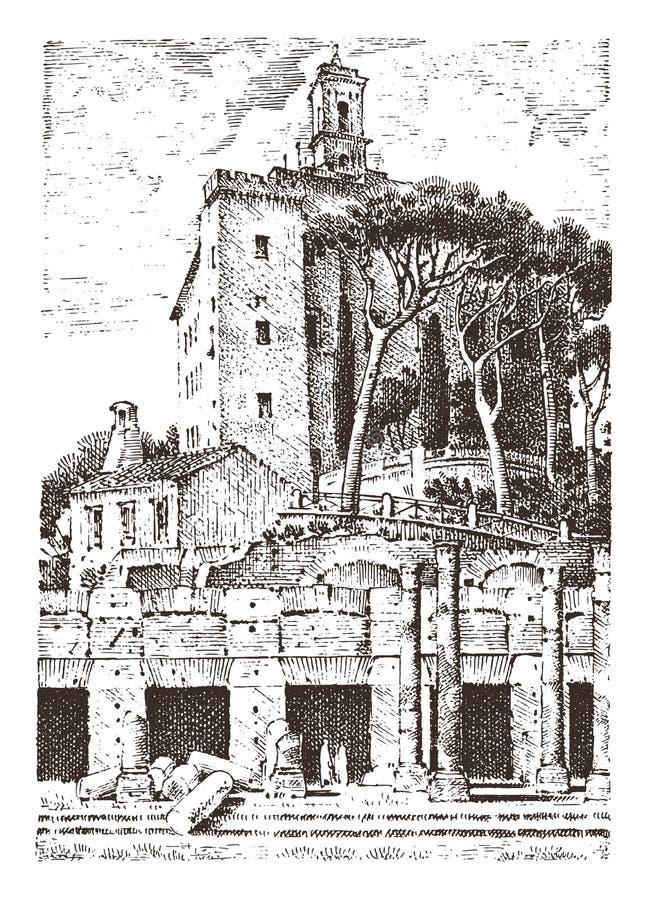 Regerings- byggnad, fördärvar i Italien roman fora capitolslott forntida eller antik arkitektur Dragen inristad hand royaltyfri illustrationer