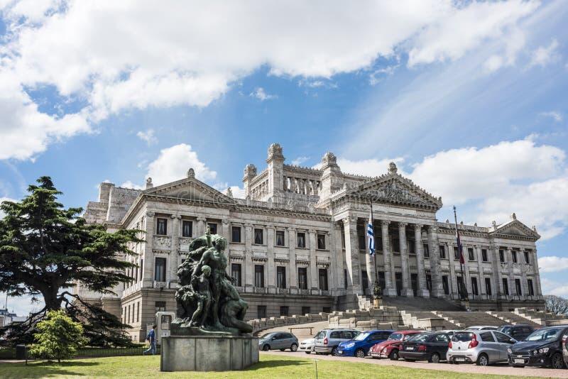 Regerings- slott Legislativo i Montevideo, Uruguay fotografering för bildbyråer