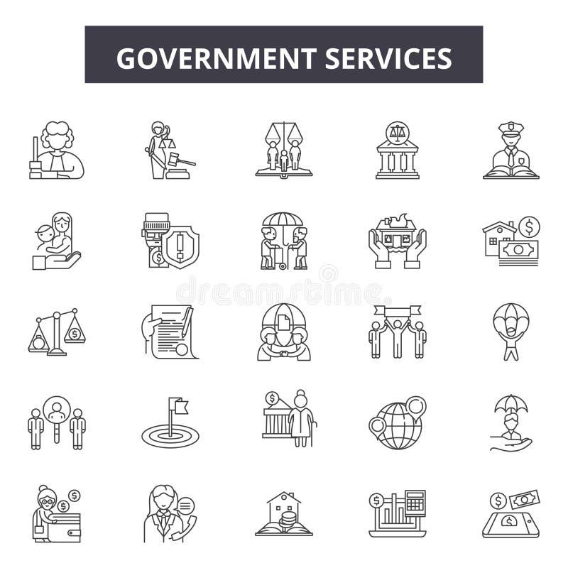 Regeringservice fodrar symboler, tecken, vektoruppsättningen, översiktsillustrationbegrepp stock illustrationer