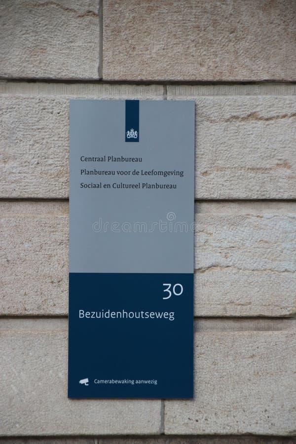Regeringskantoor van het bureau voor planning, cultureel planbureau CPB in Bezuidenhoutseweg in Den Haag The Hague in het Net stock afbeelding