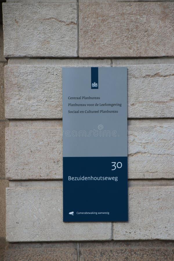Regeringskantoor van het bureau voor planning, cultureel planbureau CPB in Bezuidenhoutseweg in Den Haag The Hague in het Net stock foto