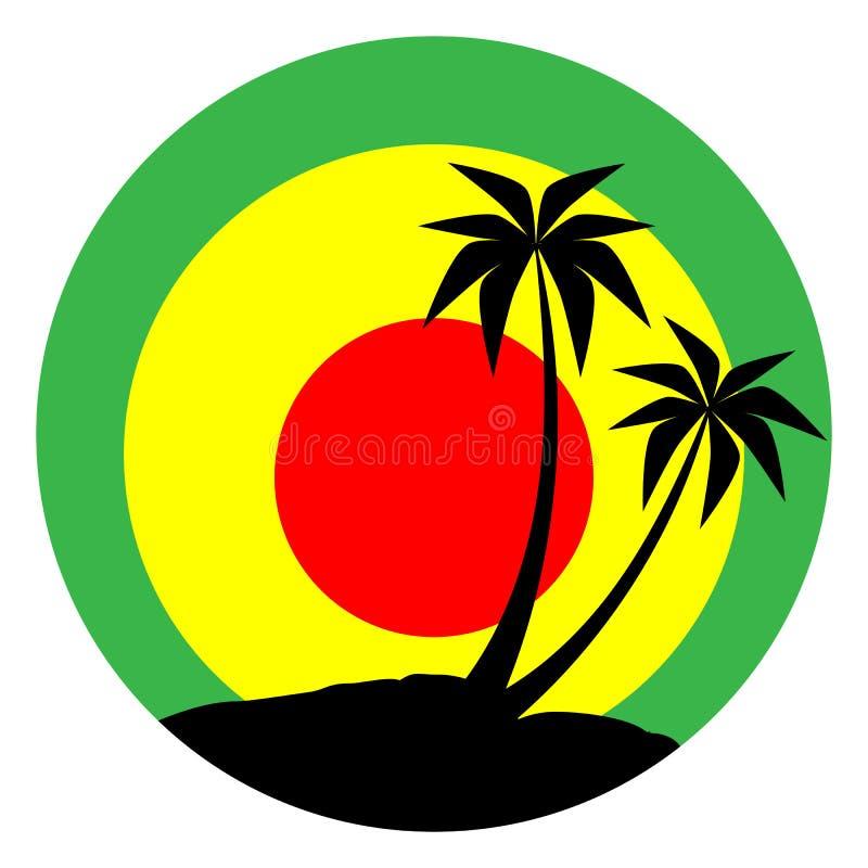 Reggae emblemat z czarną pulms sylwetką ilustracja wektor