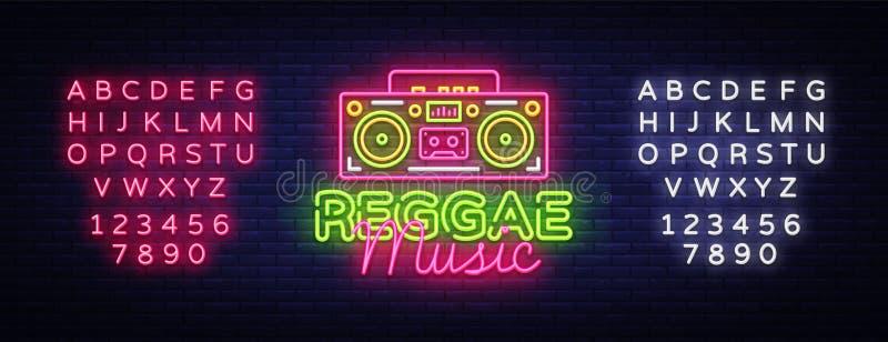 Reggae loga Muzyczny Neonowy wektor Reggae neonowego znaka pojęcie, projekta szablon, nowożytny trendu projekt, nocy neonowy sign ilustracja wektor
