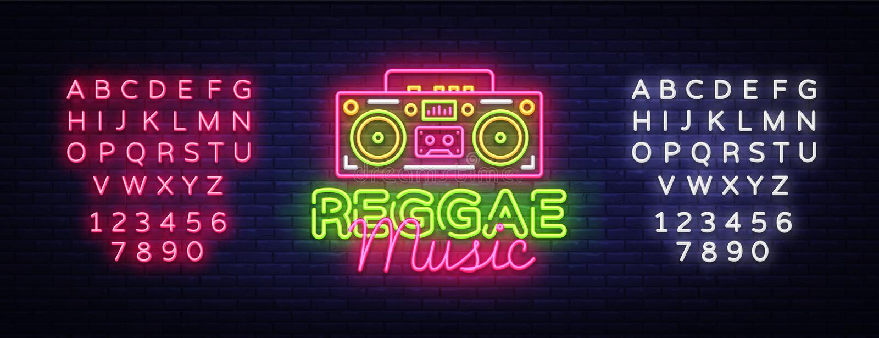 Reggae Music Neon Logo Vector. Reggae neon sign concept, design template, modern trend design, night neon signboard vector illustration