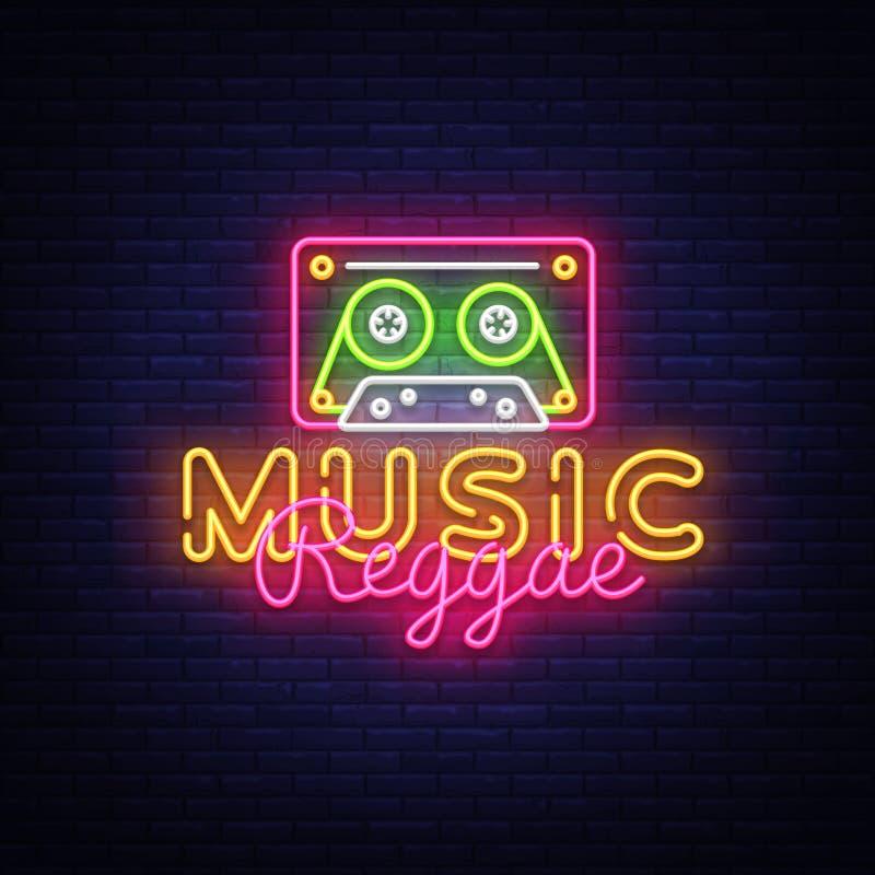 Reggae neonowego znaka Muzyczny wektor Reggae projekta szablonu neonowy znak, lato lekki sztandar, neonowy signboard, śródnocny j royalty ilustracja