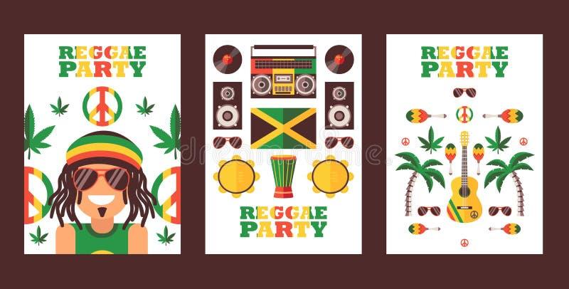 Reggae party invitation, vector illustration. Jamaican style music festival announcement. Simple flat design banner for stock illustration