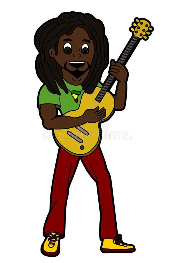 Reggae singer and guitarist. Rasta reggae singer and guitarist isolated on a white background royalty free illustration