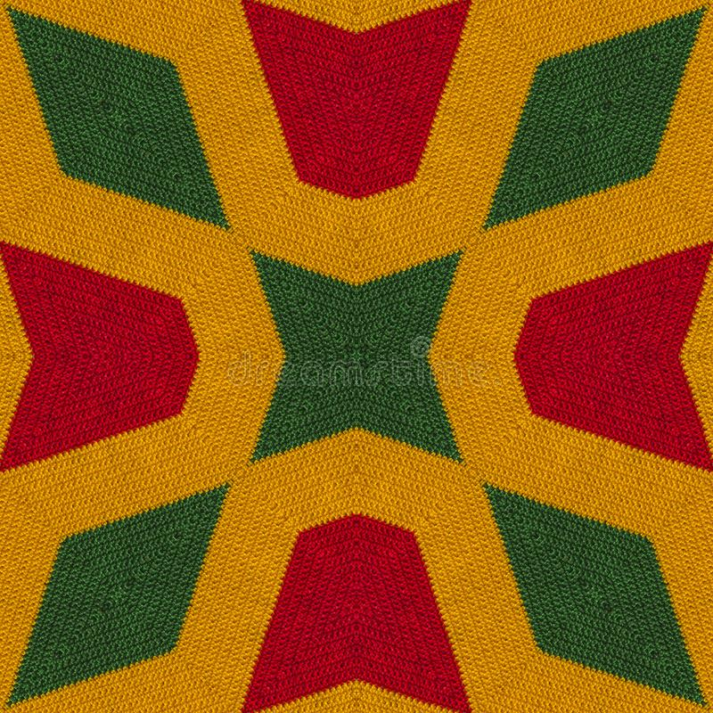 Reggaefärger virkar stucken stilbakgrund, bästa sikt Collage med spegelreflexion med romben Sömlös kalejdoskopmonta arkivfoto