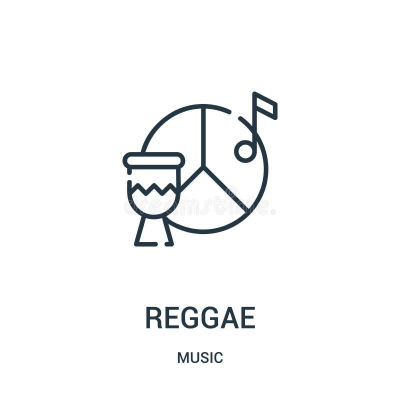 reggaesymbolsvektor från musiksamling Tunn linje illustration för vektor för reggaeöversiktssymbol stock illustrationer