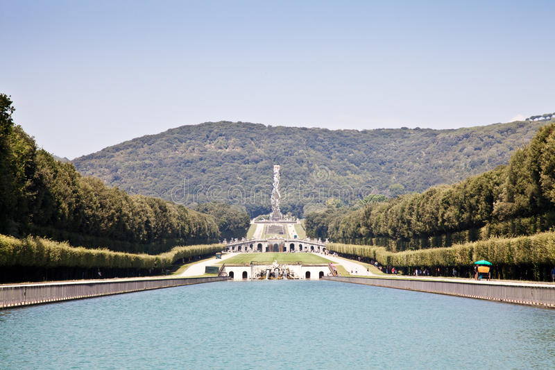 Reggia di Caserta - Italy. Famous Italian gardens of Reggia di Caserta, Italy stock photo