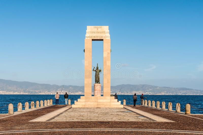 Athena goddess Statue and Monument to Vittorio Emanuele at Arena dello Stretto in stock image