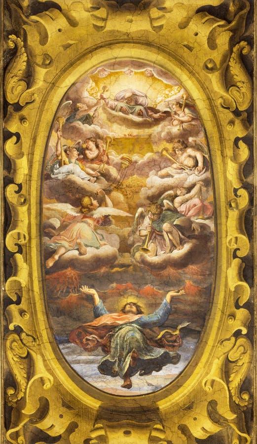 Reggio Emilia - η νωπογραφία της αποθέωση του ST John ο Ευαγγελιστής στην εκκλησία Chiesa Di SAN Giovanni Evangelista στοκ φωτογραφία