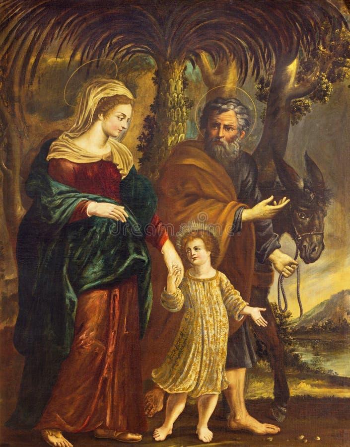 REGGIO EMILIA, ИТАЛИЯ - 13-ОЕ АПРЕЛЯ 2018: Картина полета святой семьи к Египту в церков Chiesa di Santo Stefano стоковые изображения