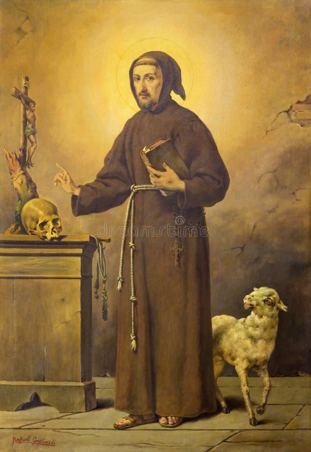 REGGIO EMILIA, ИТАЛИЯ - 12-ОЕ АПРЕЛЯ 2018: Картина Св.а Франциск Св. Франциск Assisi в dei Cappuchini Chiesa церков стоковое фото rf