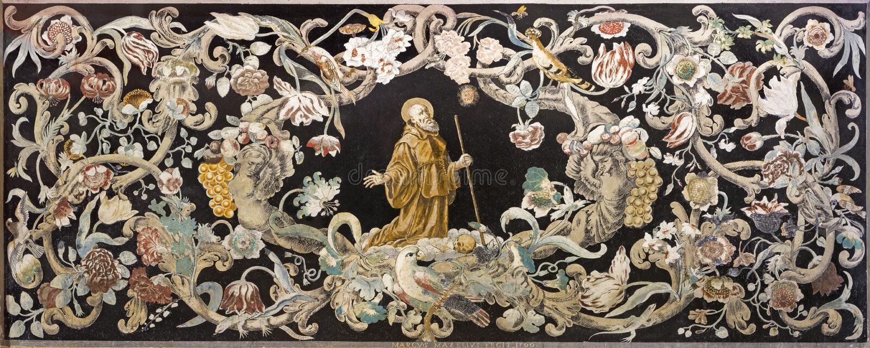 Reggio Emilia - каменная мозаика Pietra Dura с святым монахом на молитве в церков Chiesa di Santo Stefano стоковая фотография rf