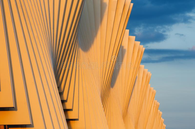 Reggio Emilia - The Reggio Emilia AV Mediopadana railway station in evening light by architect Santiago Calatrava. REGGIO EMILIA, ITALY - APRIL 13, 2018: The royalty free stock photo