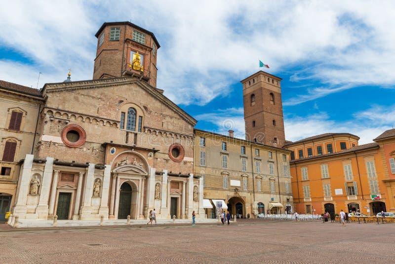 Reggio Emilia, Itália: O quadrado central de Reggio Emilia Camillo Prampolini fotografia de stock royalty free