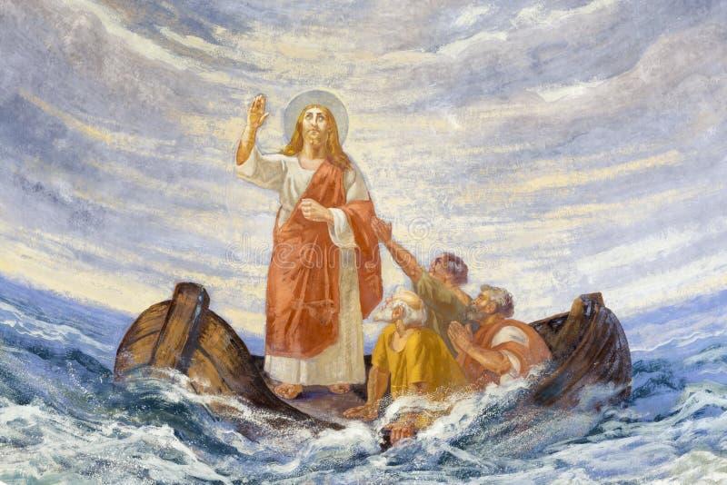 REGGIO EMILIA, ITALIË - APRIL 12, 2018: De moderne fresko Jesus Calms het Onweer in kerk Chiesa Di San Agostino royalty-vrije stock foto's