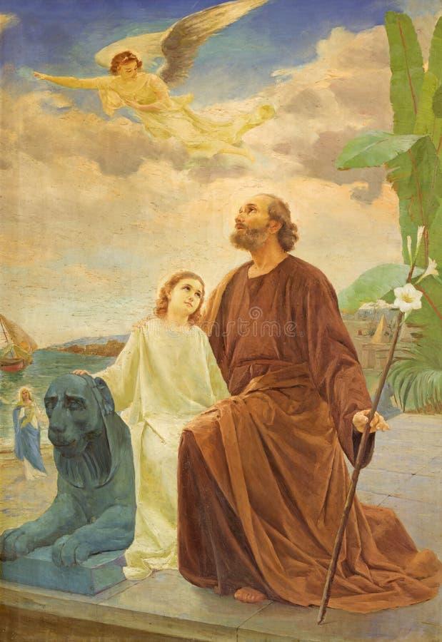 REGGIO EMILIA, ITALIË - APRIL 12, 2018: Het moderne schilderen van Joseph met de Jesus in Ballingschap in Egypte stock afbeelding