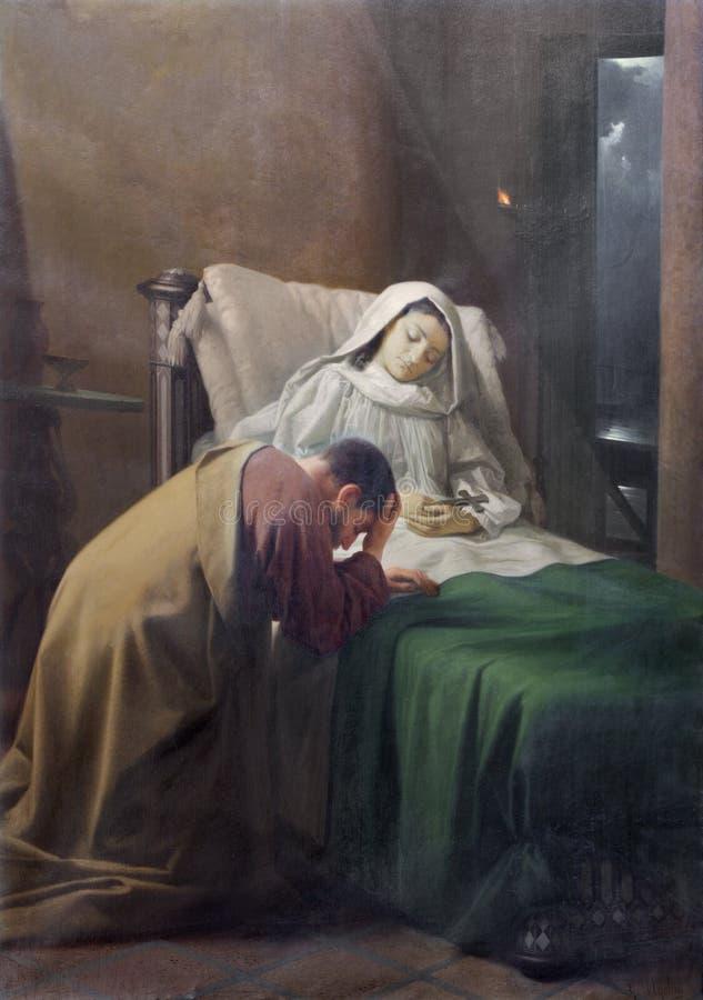 REGGIO EMILIA, ITALIË: Het schilderen van Doodsod St Monica moeder van St Augustine in kerk Chiesa Di San Agostino stock foto's