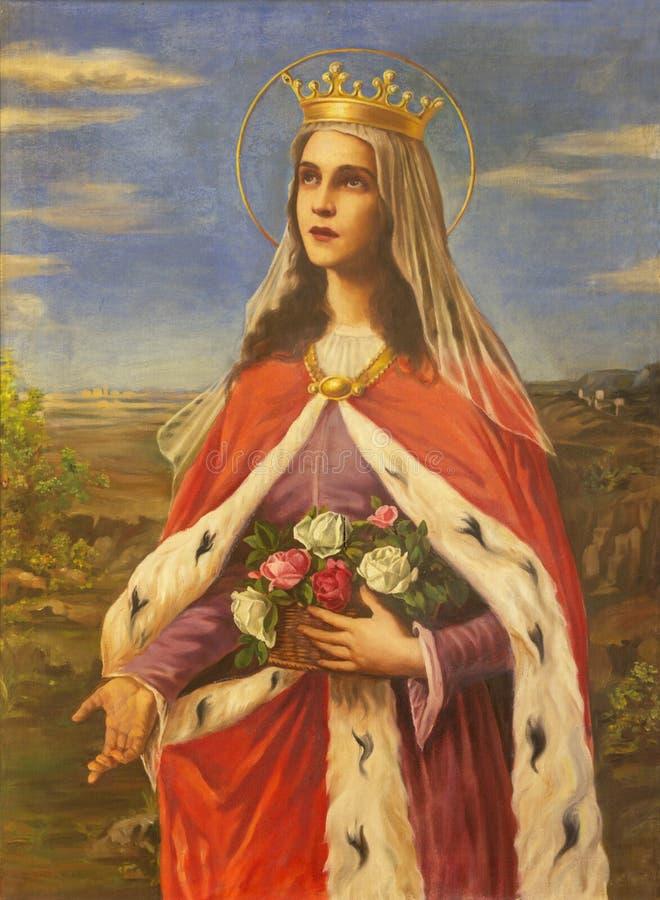 REGGIO EMILIA, ITALIA - 12 APRILE 2018: Il dipinto di Santa Elisabetta d'Ungheria nella chiesa dei Cappuchini fotografia stock libera da diritti