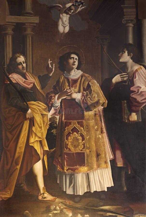 REGGIO EMILIA, ITALIA - 12 APRILE 2018: Il dipinto di Santo Stefano e dei martiri dell'ordine nella chiesa di Santo Stefano fotografie stock libere da diritti