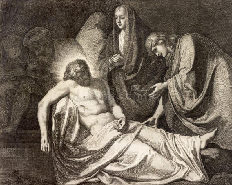 REGGIO EMILIA, ITALIA - 12 DE ABRIL DE 2018: El entierro de la litografía de la manera de la cruz de Jesús en los di Santo Stefan fotos de archivo libres de regalías