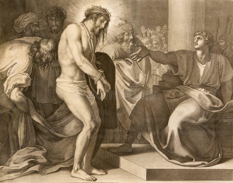 REGGIO EMILIA, ITALIA - 12 DE ABRIL DE 2018: El juicio de Jesús de la litografía para Pilate imagenes de archivo