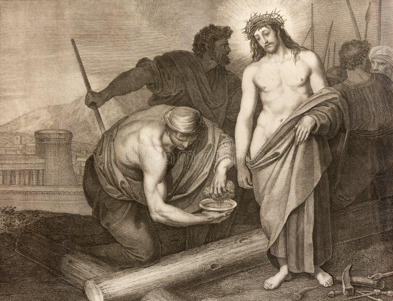 REGGIO EMILIA, ITALIA - 12 DE ABRIL DE 2018: La litografía Jesús antes de la crucifixión en los di Santo Stefano de Chiesa de la  imagen de archivo libre de regalías
