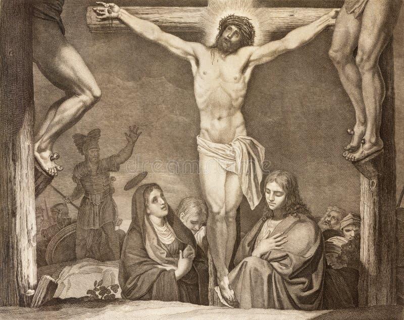 REGGIO EMILIA, ITALIA - 12 DE ABRIL DE 2018: La litografía de la manera de la cruz de la crucifixión en los di Santo Stefano de C fotos de archivo libres de regalías