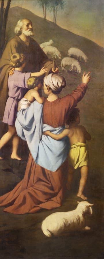 REGGIO EMILIA, ITALIE - 12 AVRIL 2018 : La peinture des sheepherds dans le dei Cappuchini de Chiesa d'?glise par aum?nier Angelic image stock