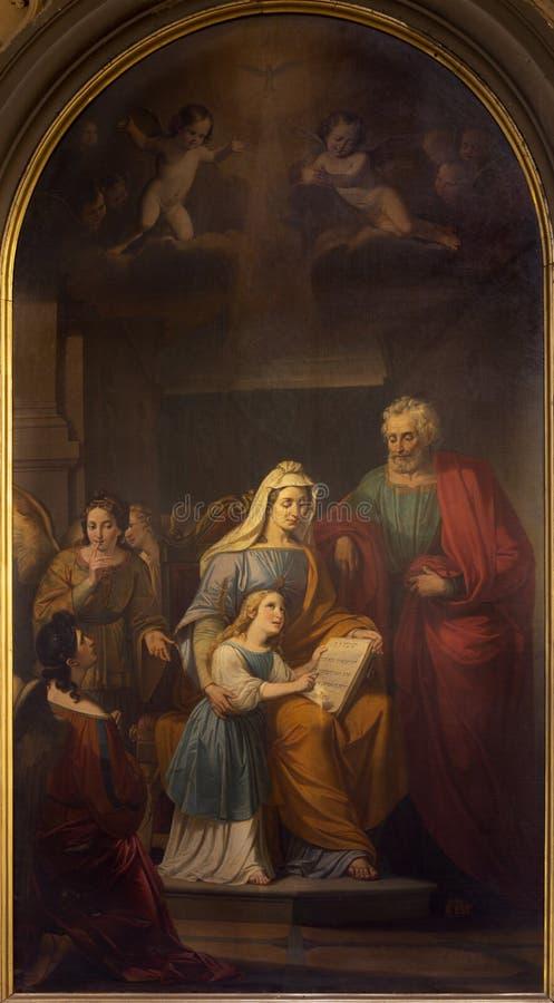 REGGIO EMILIA, ITALIE : La peinture de St Joachim, petit Vierge Marie et St Ann dans le chiesa di San Francesco d'église images libres de droits