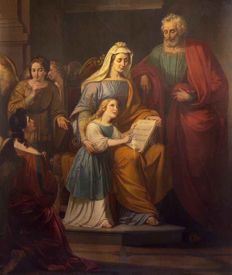 REGGIO EMILIA, ITALIE : La peinture de St Joachim, petit Vierge Marie et St Ann dans le chiesa di San Francesco d'?glise image libre de droits