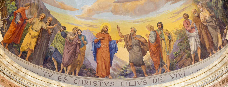 REGGIO EMILIA, ITALIEN - APRIL 13, 2018: Freskomålningen av Jesus och apostlarna i huvudsaklig absid av kyrkliga Chiesa di San Pi arkivbild