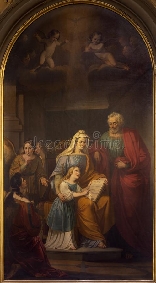 REGGIO EMILIA, ITALIEN: Die Malerei von St. Joachim, kleiner Jungfrau Maria und St Ann in Kirche chiesa di San Francesco lizenzfreie stockbilder