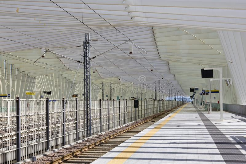 REGGIO EMILIA, ITALY - APRIL 13, 2018: The Reggio Emilia AV Mediopadana railway station by architect Santiago Calatrava.  stock photography