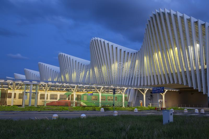 REGGIO EMILIA, ITALY - APRIL 13, 2018: The Reggio Emilia AV Mediopadana railway station at dusk by architect Santiago Calatrava.  stock photos