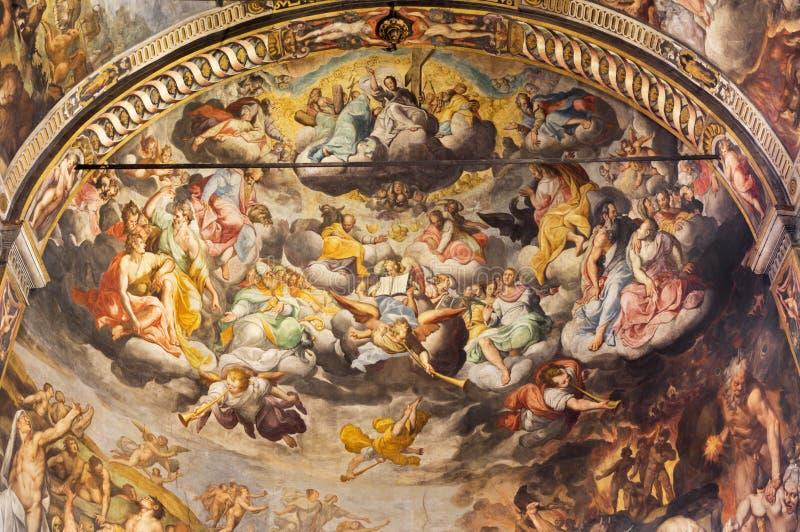 REGGIO EMILIA, ITALY - APRIL 12, 2018: The Last Judgment fresco in main apsida of church Basilica di San Prospero. By Camillo Procaccini 1585 - 1587 stock photos