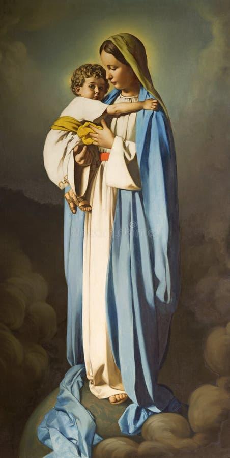 REGGIO EMILIA, ITALY - APRIL 12, 2018: The painting of Madonna with the Child in church Chiesa dei Cappuchini. By Padre Angelico da Villarotta 1939 royalty free stock photography