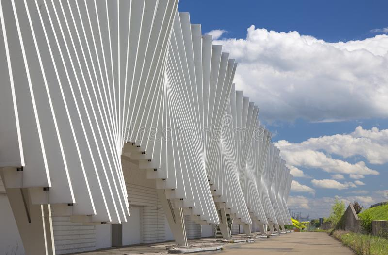 REGGIO EMILIA, ITALY - APRIL 13, 2018: The Reggio Emilia AV Med. Iopadana railway station by architect Santiago Calatrava royalty free stock images