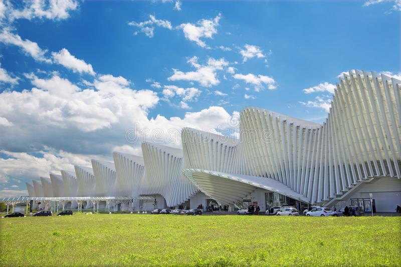 REGGIO EMILIA, ITALY - APRIL 13, 2018: The Reggio Emilia AV Mediopadana railway station by architect Santiago Calatrava.  stock photos