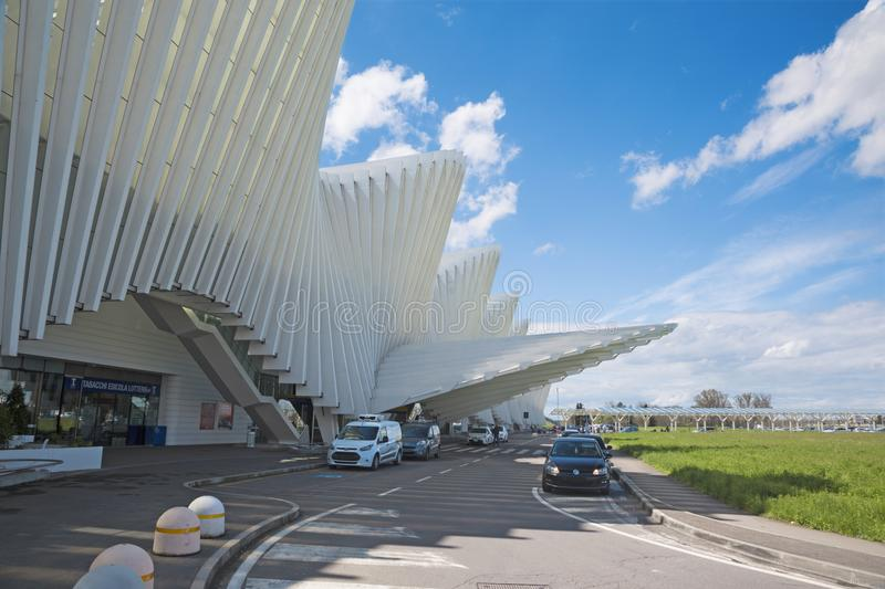 REGGIO EMILIA, ITALY - APRIL 13, 2018: The Reggio Emilia AV Mediopadana railway station by architect Santiago Calatrava.  stock photo
