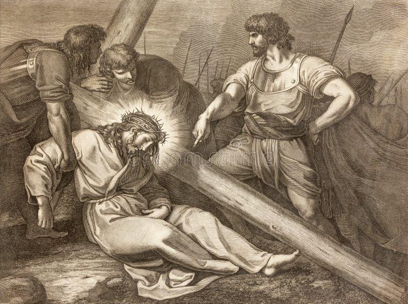 Reggio Emilia - la litografía de la caída de Jesús bajo manera cruzada cruzada en los di Santo Stefano de Chiesa de la iglesia foto de archivo libre de regalías