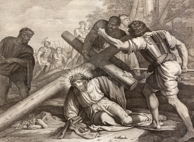 Reggio Emilia - la litografía de la caída de Jesús bajo manera cruzada cruzada en los di Santo Stefano de Chiesa de la iglesia imagen de archivo libre de regalías